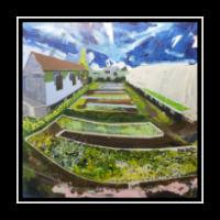 Okra Farms: Lower 9th Ward New Orleans, 2017, 42inx42in, acrylic on panel