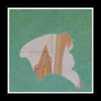 "The Permian, 2017, 48"" x 48"" x 3.5"", Acrylic, latex, gouache, charcoal, nails on wood panel"