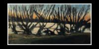 """Levee View New Orleans, Sundown Lower 9th"" oil on masonite 48x24"""