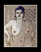 """""""Puzzle"""" acrylic/charcoal on Times-Picayune newspaper."""