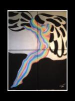 "My Angel, The guardian of Joy. acrylic on canvas, silkscreen, 32""x40"""